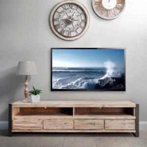 The urban-inspired Lexi TV unit offers 4-drawers and 2 spacious console compartments. Featuring a blend of metal, Acacia wood and Acacia veneers this piece boasts an industrial look to perfectly complement a contemporary living or TV room.